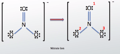 Lewis Structure of Nitrate with Numbered Oxygen Atoms