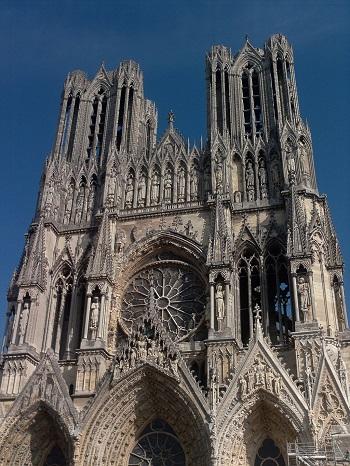 Front Facade Of Notre Dame Reims