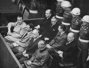 Photo of the Nuremberg Trails. Herman Goering on the Far Left