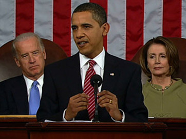 President Obama delivers the state of the union address with Joe Biden and Nancy Pelosi