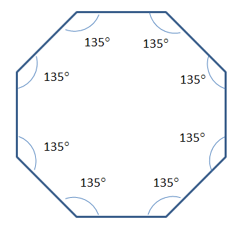 Area angles of an octagon for Exterior angle of a regular octagon
