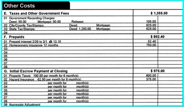 Other Costs - Closing Disclosure Form