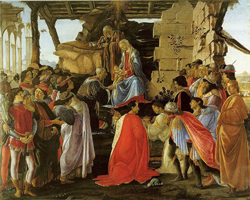 The Adoration of the Magi by Botticelli, currently in the Uffizi Museum in Florence