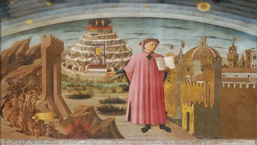 Fresco of Dante and The Divine Comedy