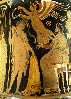 Greek pottery depicting Jason with the Golden Fleece