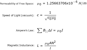 permeability of free space equations