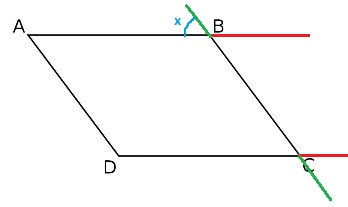 Proof that sum of consecutive angles is 180 degrees