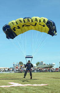 Photo of a skydiver with parachute