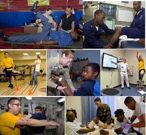 Collage showing physical therapy