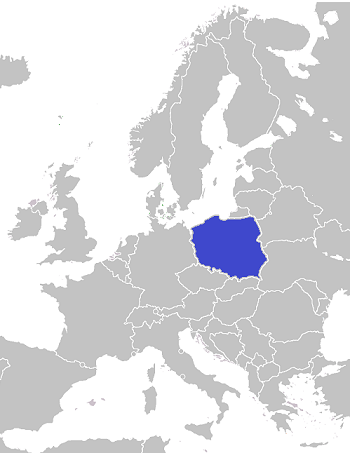 Map of Europe with Poland highlighted