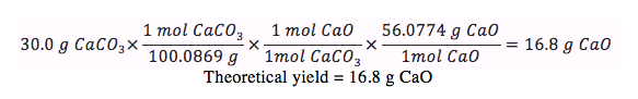Determining percent yield