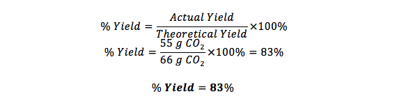 how to calculate percent yield definition formula example