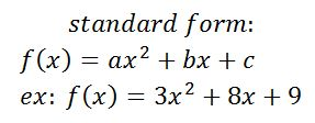 Quadratic Functions: Examples & Formula - Video & Lesson ... Quadratic Function In Standard Form Examples