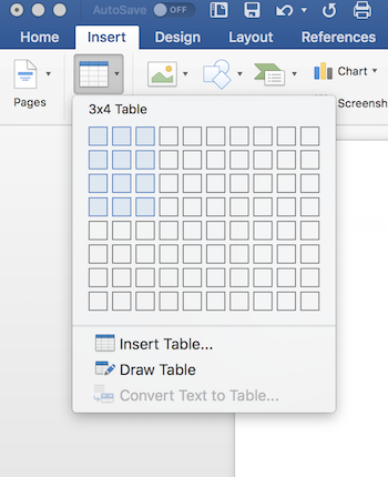 Quick table in Word