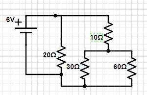 four resistors and a 6-v battery are arranged as shown in the circuit  diagram  determine the