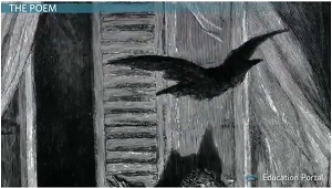 edgar allan poe s the raven summary and analysis video lesson  raven flying in window