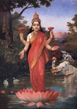 Depiction of Lakshmi standing on a lotus flower and holding lotuses