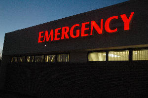 Picture of emergency sign on the hospital