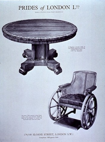 Regency table and wheelchair