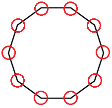 Regular Decagon With Vertices Circled