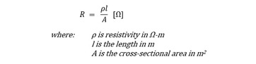 Resistance - resistivity equation