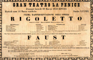 Poster for the world premiere of Rigoletto