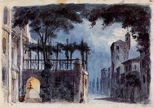 Act 1, Scene 2 stage set by Giuseppe Bertoja for the world premiere of Rigoletto