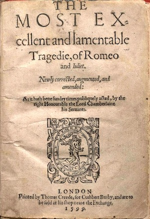 Title Page of Romeo and Juliet