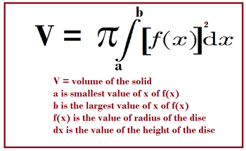 Disk method in calculus formula examples video lesson finding the limit of the volume as the height goes to infinitely small is the antiderivative of the square of the function fx from a to b times 314 publicscrutiny Choice Image