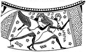 Harpies on a Greek vase picture
