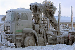 a truck encased in ice