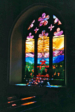 stained glass windows in a church