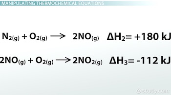 two thermochemical equations for steps