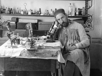 A self-portrait of Cajal with his microscope