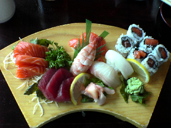 Platter containing various types of sushi