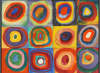 Color Study Squares With Concentric Circles