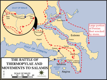 Map showing the movements of the Persian army and the battle at Thermopylae