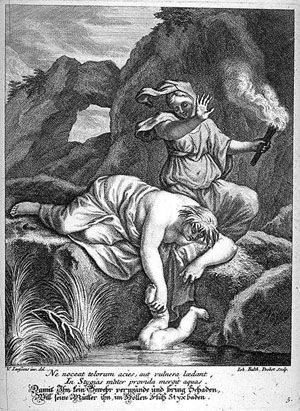 Thetis Dips Achilles in the River Styx