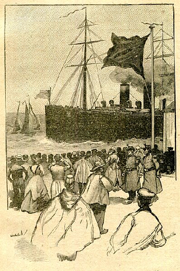 A Sunday crowd of Havre residents watching steamships arrive (illustration for My Uncle Jules)