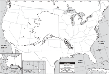 US Map, compared to Alaska