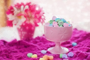 candy hearts and flowers