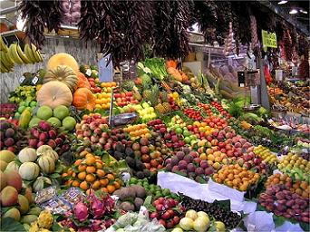 Vegetables and Fruits in a Market