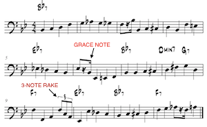 A sample jazz bass line - note the use of grace notes and rakes. Image by Greg Simon.