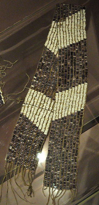 988bd9609bcd0 Example of wampum beads strung into a belt. This is a 17th century peace  treaty.