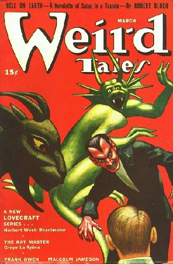 Cover of Weird Tales magazine containing Lovecrafts novella, Herbert West: Reanimator (1922)