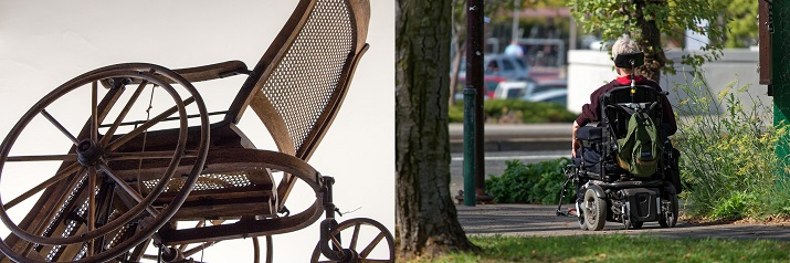 A vintage manual and modern electric wheelchair