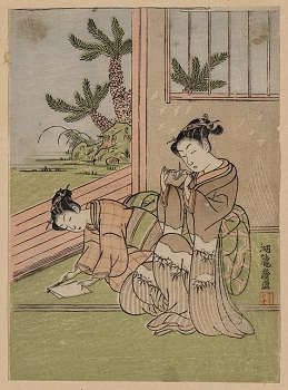 Woodblock print of Japanese women folding origami