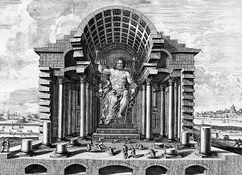 Illustration of Temple and Statue of Zeus