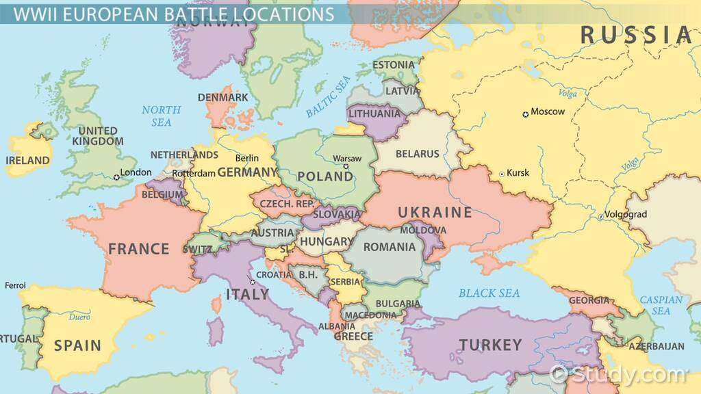 Picture of: Locations Of Major Events Battles In World War Ii Europe Video Lesson Transcript Study Com