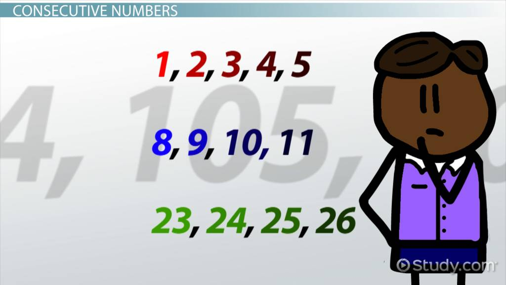 What Are Consecutive Numbers Definition Examples Video